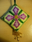 Cross stitch and bead embroidery scissor keeper by Gail Langton