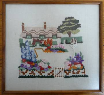 The cottage and garden crewel embroidery by Jasbir Jabbal